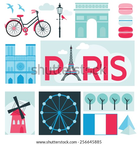 Paris Card - Places and Museum in Paris - in vector - stock vector