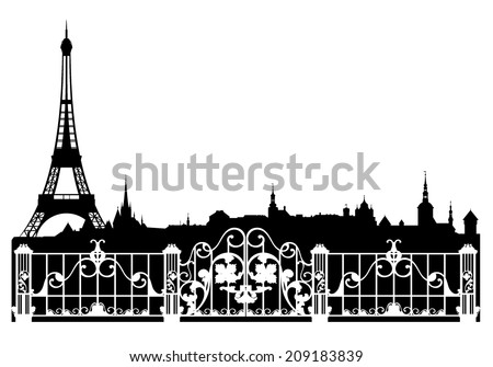 Paris city easy editable decorative border - french cityscape with eiffel tower vector silhouette - stock vector