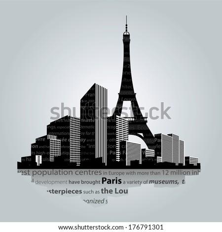 Paris city silhouette - stock vector