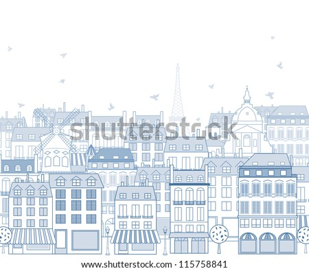 Paris cityscape with traditional buildings and famous architectures elements. - stock vector