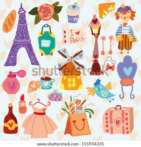 Paris cute set (A set of cartoon design elements) - stock vector