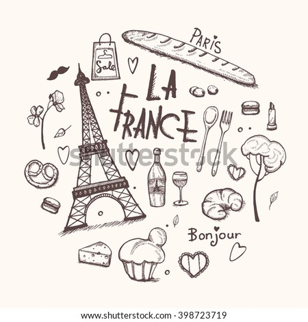 Paris doodles elements. Hand drawn set with france elements. Drawing doodle collection and lettering, isolated  - stock vector