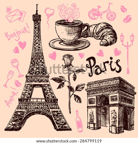 Paris Eiffel Tower and bakery hand drawing symbol set vector illustration - stock vector