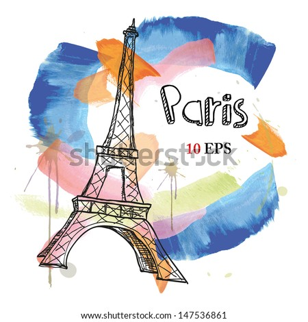 paris. Eiffel Tower. hand drawing - stock vector
