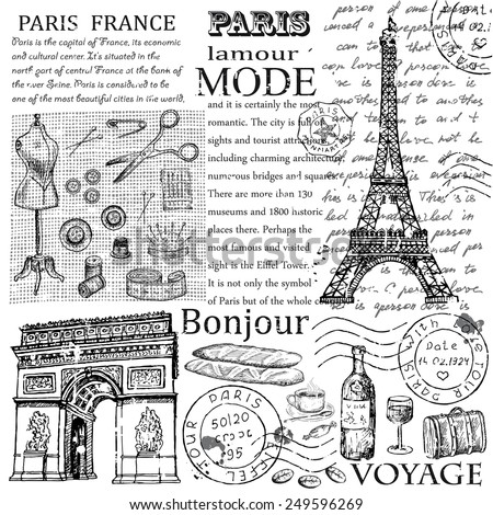 Paris Eiffel Tower. hand drawing set of vector sketches - stock vector