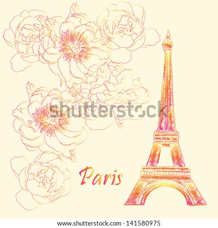 Paris Eiffel tower hand drawn stylish colorful postcard vector design background - stock vector