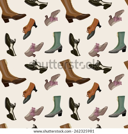 Paris Fashion Store 1900 - 1920 vintage  illustration. Pattern with vintage woman shoes set - stock vector
