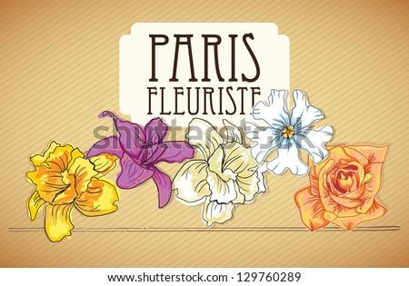 Paris Fleuriste (Flowers Icons) On vintage background. Vector - stock vector