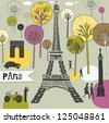 Paris France art print - stock photo