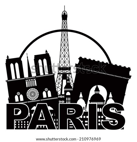 Paris France City Skyline Outline Silhouette Black in Circle Isolated on White Background Panorama Vector Illustration - stock vector
