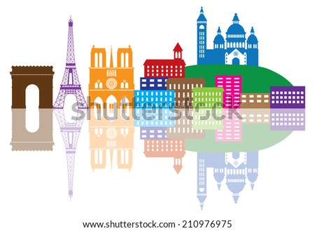 Paris France City Skyline Outline Silhouette Color with Reflection Isolated on White Background Panorama Vector Illustration - stock vector