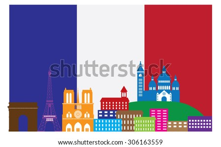 Paris France City Skyline Outline Silhouette in Flag of France Color Isolated on White Background Panorama Vector Illustration - stock vector