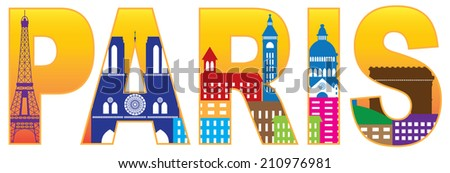 Paris France City Skyline Text Outline Silhouette Color with Reflection Isolated on White Background Panorama Vector Illustration - stock vector