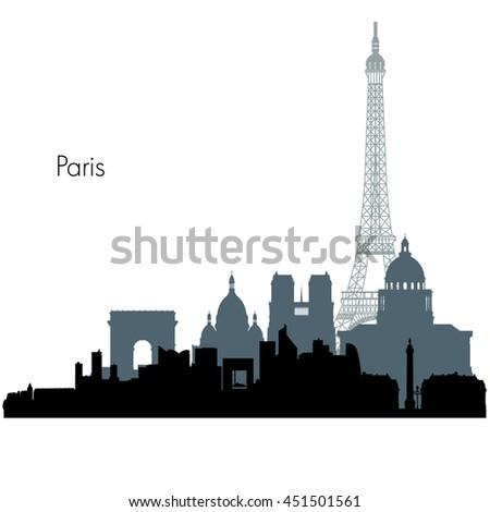 Paris France city skyline vector silhouette illustration - stock vector