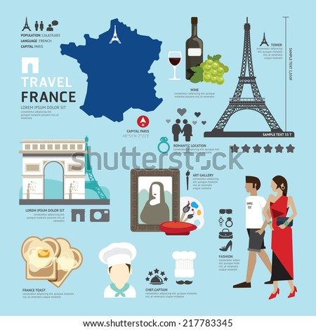 Paris,France Flat Icons Design Travel Concept.Vector - stock vector