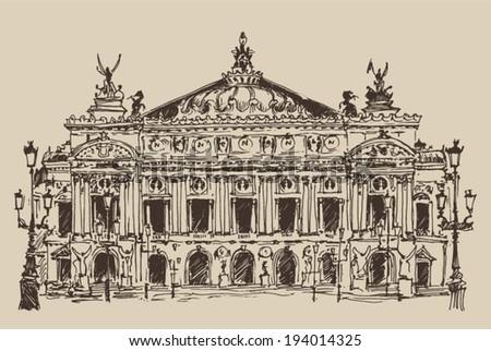 Paris, France, Palais Garnier (Paris opera house) vintage engraved illustration, hand drawn - stock vector