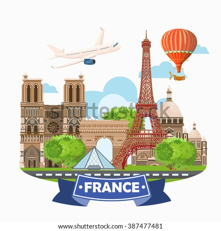 Paris,France Vector travel destinations set, Info graphic elements for traveling to France. - stock vector