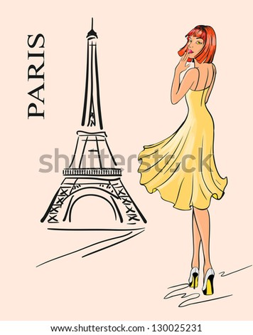 Paris. Girl and Eiffel tower - stock vector