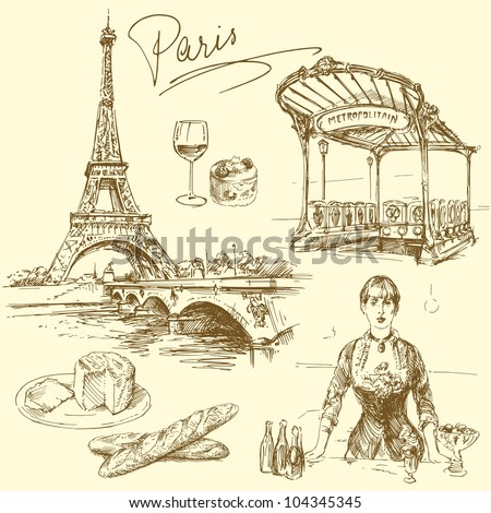 Paris - hand drawn collection - stock vector