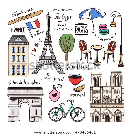 Paris hand drawn illustrations. France doodle icons and symbols