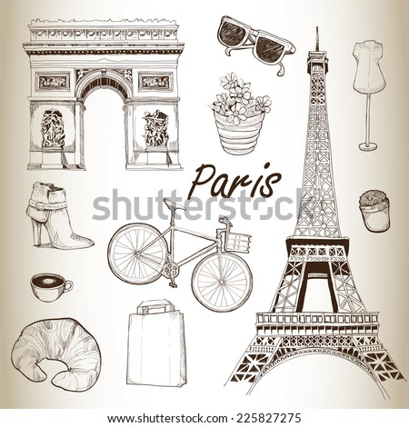 Paris icon set. Hand Drawn Illustration. Vector vintage background.