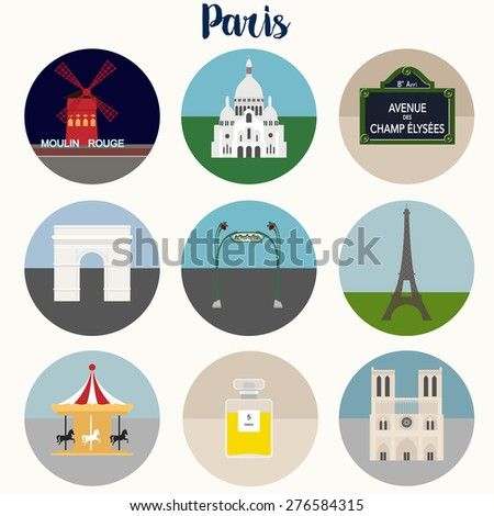 Paris Icons Set - Vector EPS10 - stock vector
