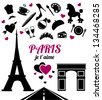 Paris je t'aime. Collection of symbols and icons isolated on white background. Vector illustration. - stock vector