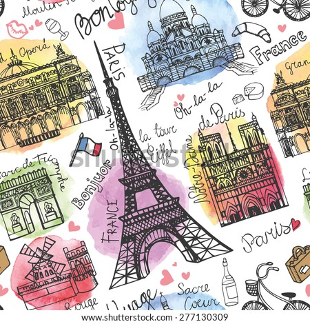 Paris landmark,lettering seamless pattern.Watercolor stein.Vintage  doodle.In French  good travel,hello,Notre Dame,Eiffel tower,Sacre Coeur,Grand Opera,arc de Triomphe,Moulin Rouge.Vector  - stock vector