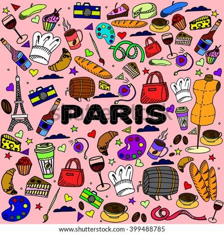 Paris line art design vector illustration. Separate objects. Hand drawn doodle design elements. - stock vector