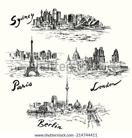 Paris, London, Berlin, Sydney - hand drawn collection - stock vector