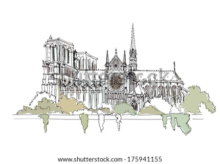 Paris, Notre Dame, sketch collection - stock vector