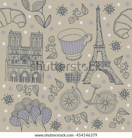 Paris. Seamless. Background - stock vector