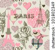 Paris seamless pattern - stock photo