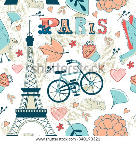 Paris seamless pattern. Colorful illustration in vector format