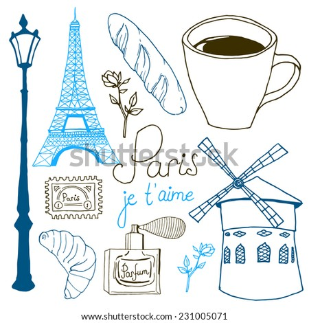 Paris sketch set. Vector hand drawn objects: Eiffel tower, lamppost, French baguette, coffee cup, perfume bottle, roses branch, croissant and lettering. - stock vector