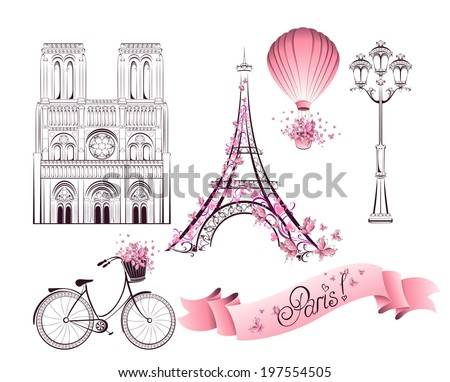 Paris symbols and landmarks. Vector set - stock vector