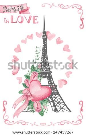 Paris Symbols Eiffel Tower Love Wedding Invitationcard Pink Stock