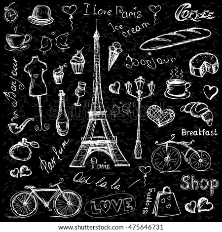 Paris symbols, hand drawn objects or icons on black  background, stock vector illustration