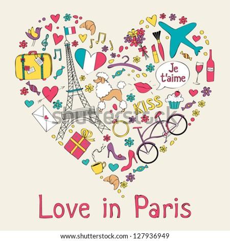 Paris symbols in heart shape - stock vector