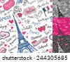 Paris symbols,lettering,emblems in seamless pattern,background set.Hand drawn doodle sketchy.French words good travel,Speak French,hello,life is beautiful,Eiffel tower,love,i love you.Colored Vector - stock vector