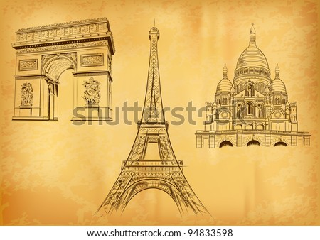 paris symbols on the old paper - stock vector
