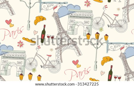 Paris symbols, postcard, seamless pattern, hand drawn, vector illustration - stock vector