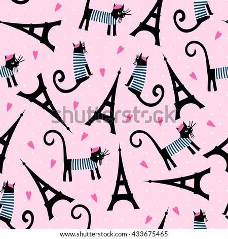 Paris symbols seamless pattern. Cute cartoon parisian cat and tour Eiffel vector illustration on pink polka dots background. French style dressed cat with beret and striped frock. - stock vector