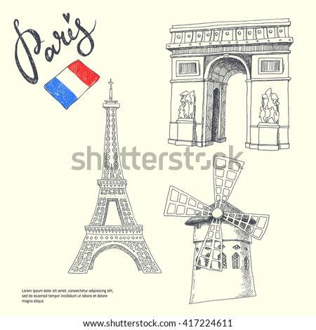 Paris symbols. set of graphic illustrations with landmarks.  hand drawn isolated objects - stock vector