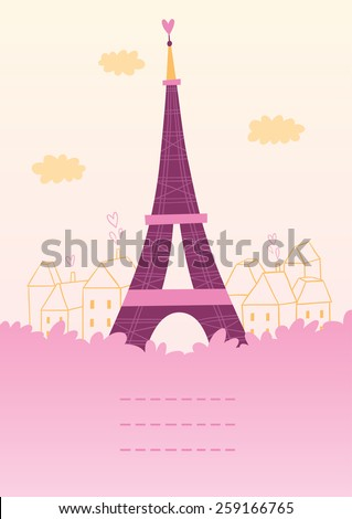 Paris theme card with eiffel tower and a place for your text - stock vector
