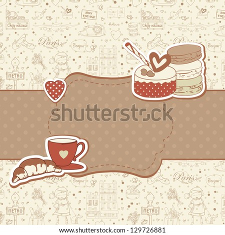 Paris travel background with macarons, cake and cup of coffee, copyspace for text. Retro vintage style. - stock vector