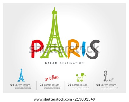 Paris travel set, France, Eiffel tower, typography. Translation: I love you - stock vector