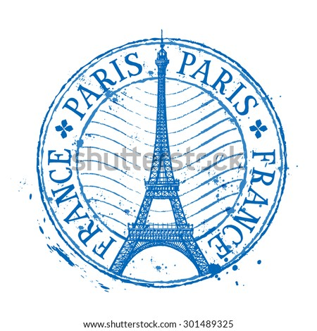 Paris Vector Logo Design Template Shabby Stamp Or France Eiffel Tower Icon