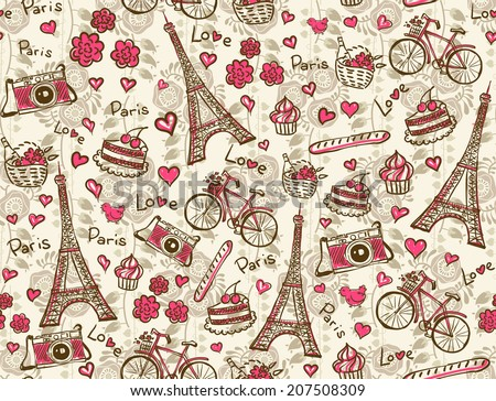 Paris vintage background. Seamless vector pattern. - stock vector