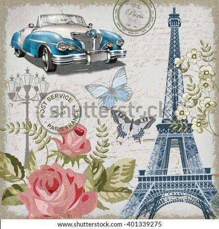 Paris vintage postcard. - stock vector